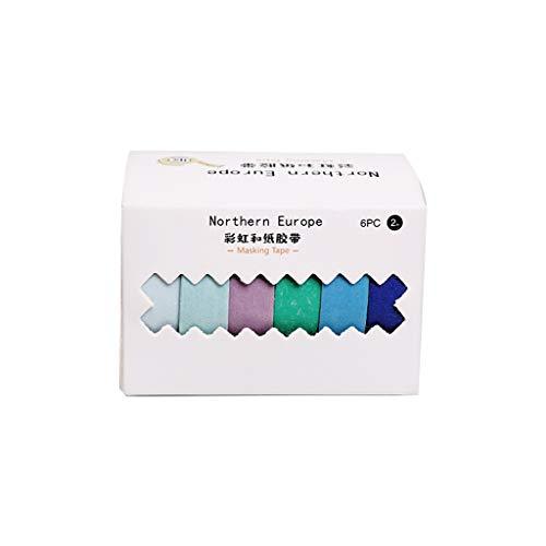 6 unids/caja de papel de color sólido Washi Tape Set Scrapbook etiqueta...