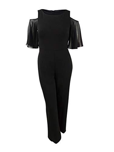 Connected Apparel Womens Black Cold Shoulder Short Sleeve V Neck Jumpsuit Size 14