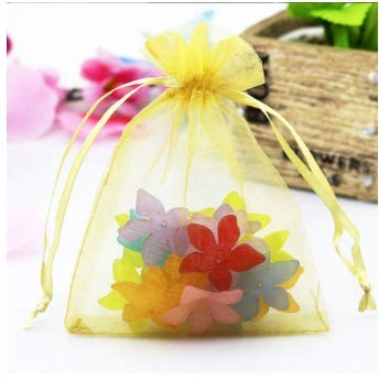 Cregg 10 Pcs 7X9 9X12 10X15 13X18cm Organza Gift Bags Jewelry Packaging Bag Wedding Party Decoration Favors Drawable D4 Gold 7x9cm Organza Bags