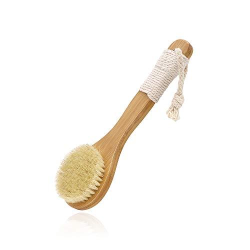 Maltose ボディブラシ 豚毛 背中ブラシ ドライブラッシング 洗体ボディ ボディブラッシング むくみ解消 つるつる美肌に 天然木 滑り止め紐 毛の硬さ 柄の長さ約25cm