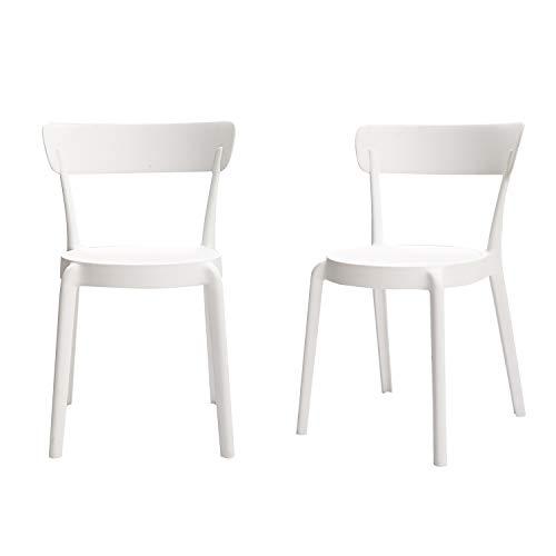 Amazon Basics White, Armless Bistro Dining Chair-Set of 2, Premium Plastic