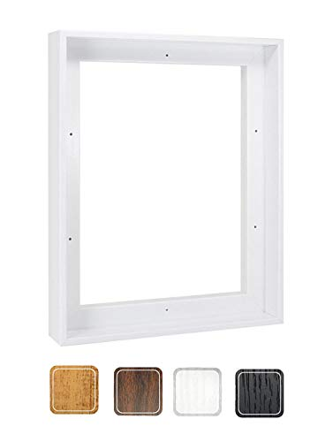 Canvas Floating Frame, Picture Wall Art Painting Frame for 11x14 Inch Finished Canvas, White 12x15 Inch