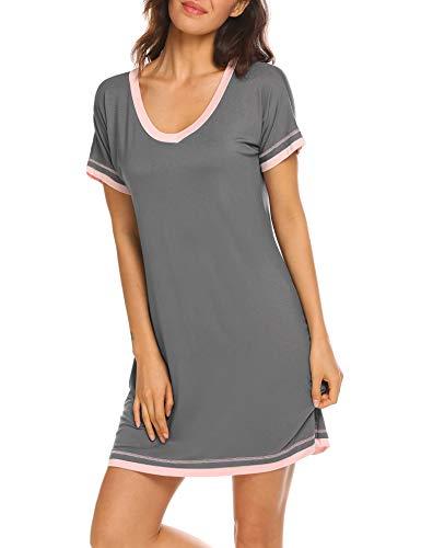 Ekouaer Damen Nachtwäsche mit V-Ausschnitt Nacht Baumwollbeiläufiges Nachtwäsche Kurzarm Nachthemd Klein Kohlengrau