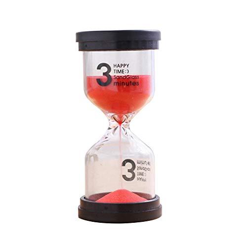 Vkospy Reloj de arena con temporizador para niños, para el salón de clase, cocina, cepillo de dientes de cocina, reloj de cristal de arena, 3 minutos, color rojo