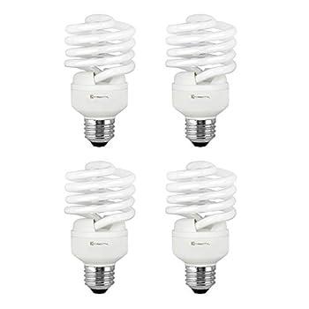 Compact Fluorescent Light Bulb T2 Spiral CFL 2700k Soft White 23W  100 Watt Equivalent  1600 Lumens E26 Medium Base 120V UL Listed  Pack of 4