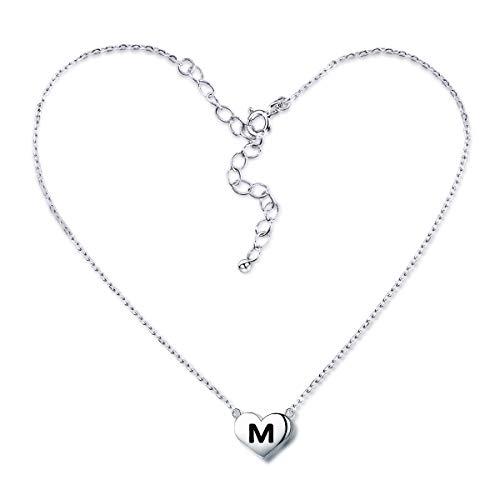 SIMPLGIRL Collar de Corazón Inicial, Plata de Ley Chapada en Blanco de 18K Pequeño Alfabeto Colgante Collar con Nombre Personalizado Collar con Letras Minúsculas Gargantilla para Niñas Mujeres