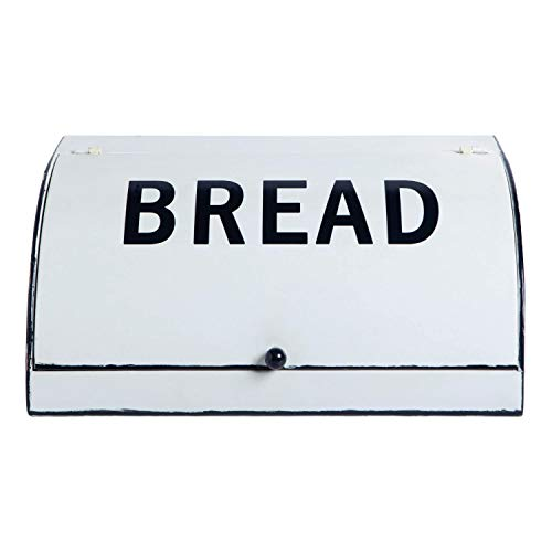 NIKKY HOME Extra Large Space Saving Metal Bread Box for Kitchen Countertop - Holds 2 Loaves - Farmhouse Breadbox Bread Bin Storage Container Holder High Capacity, Vintage White