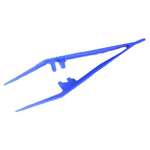 Pixel P20027-7 Pinzette für das beliebte Pixel-Hobby, aus blauem Kunststoff, mit geriffelter Grifffläche, gerade Form, zum Setzen der Pixel Steinchen