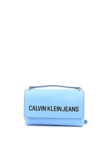 Calvin Klein Damen Sculpted Lg Ew Flap Umhängetasche, Blau (Silver Lake Blue), 1x1x1 cm
