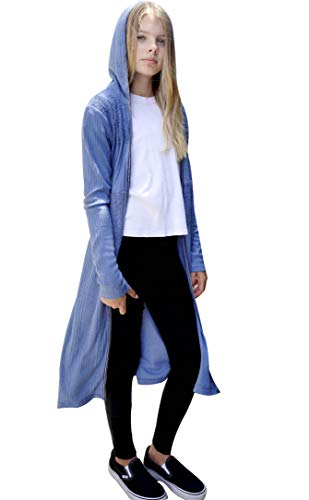 Smukke Big Girls Tween Beautiful Long Sleeves Outerwear Jackets, Long Cardigans, Hoodies, Sweaters, Long Duster 7-16 (14, Blue)