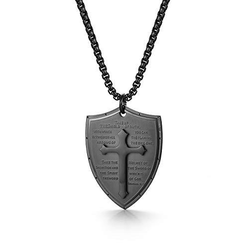 LAYX Hombres Escudo Armadura de Dios Efesios 6: 16-17 Fe Collar Cruz, Collar Pendiente del Acero Inoxidable, Negro