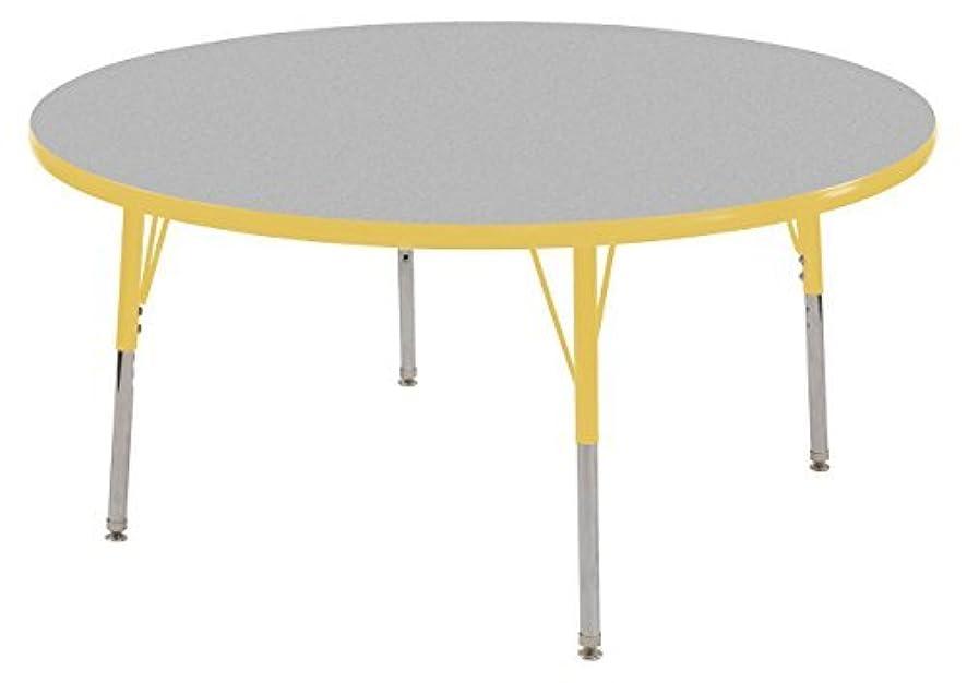 ダイエット終了しましたヨーグルトECR4Kids 48 Round Activity Table Gray Top/Yellow Edge Standard Legs/Swivel Glides Four 16 Yellow School Stack Chairs [並行輸入品]