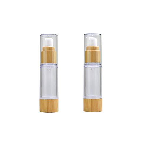 2 x 30 ml leere Kunststoff-Vakuum-Pumpflaschen, Lotionspender, mit Öko-Bambusdeckel und Boden, Reise-Make-up-Kosmetikbehälter, Behälter für Emulsion, Essenz-Serum.