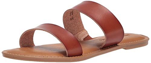 Amazon Essentials Women's Two Band Sandal Flat, Tan PU, 8 B US
