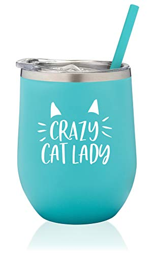 SassyCups Crazy Cat Lady Wine Tumbler   Funny Cat Themed Vacuum Stainless Steel Wine Glass Tumbler Cup with Straw   Cat Lover   Coffee Mug For Cat Mom   Cat Cup   Cat Owner (12 Ounce, Mint)