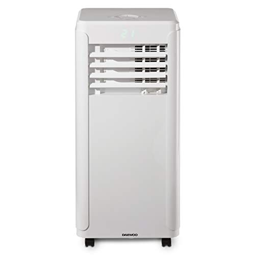 Daewoo 12000 BTU Portable 3-in-1 Air Conditioning Unit with LED Display, Remote Control, 24hr Timer, 2 Fan Speed Settings for Home/Small Office-White [Energy Class A], COL1319