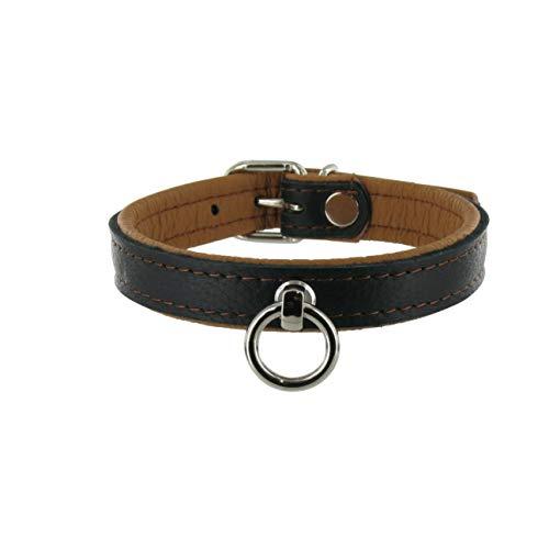 SiaLinda: Halsband echtes Elch Leder mit O-Ring, zweifarbig, schwarz/hellbraun 20mm breit - 2 Längen! (lang)