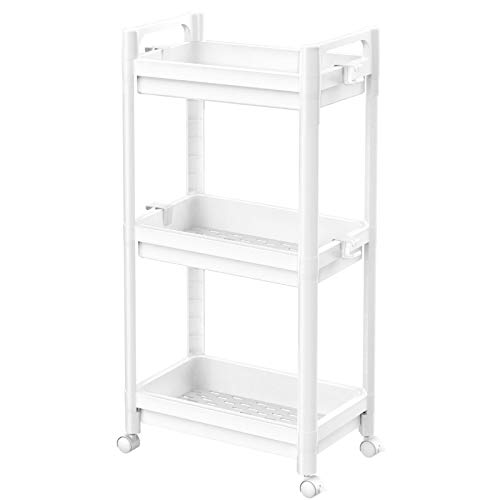 Ronlap 3 Tier Classic Rolling Storage Cart, Plastic Narrow Rolling Utility Cart with Handle, Slide Out Slim Storage Organizer Shelving for Kitchen Bathroom Laundry Room, White