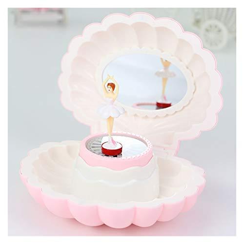 SKK Caja Musical Caja de música con luz LED y Espejo Forma de Concha Magnético Bailarina Bailarina Caja de Regalo de Almacenamiento para niños niña Decoración (Color : Pink)