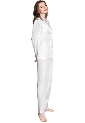 Damen Seide Schlafanzug Pyjama Weiß Medium