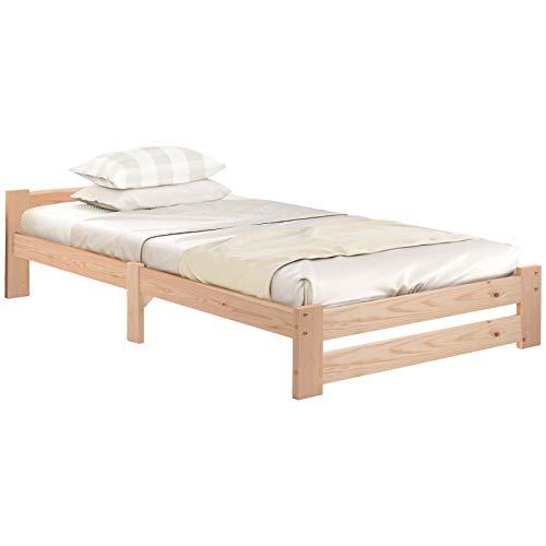 VSTAR66 Solide Einzelbett Doppelbett Bettgestell, Massivholzbett Futonbett Massivholz Natur Bett aus mit Kopfteil und...