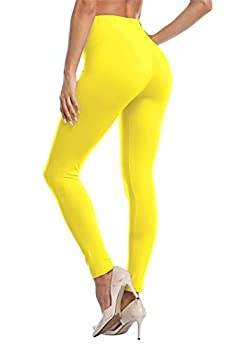 VOGUEMAX Women s Ankle Length Leggings Buttery Soft High Waisted Stretch Basic Solid Full Length Leggings Pants Yellow
