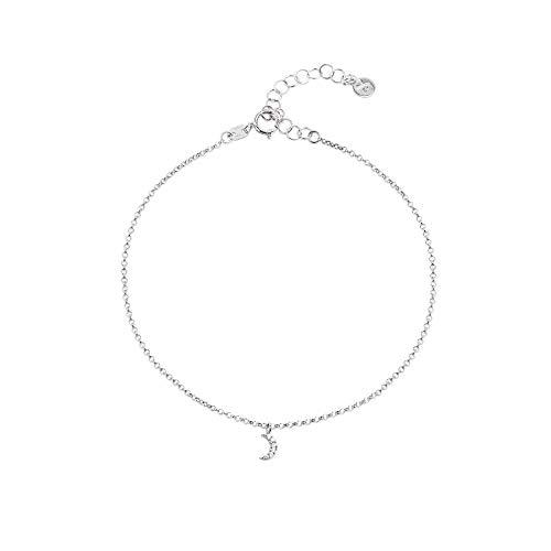SINGULARU ®Tobillera Moon Diamonds Plata para Mujer Plata de Ley 925