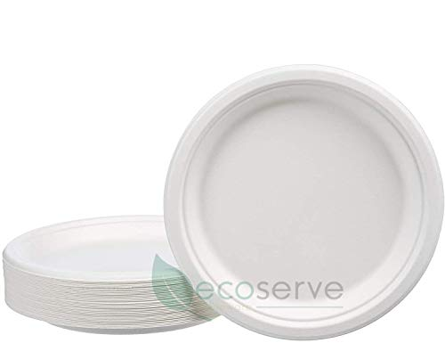 Disposable Paper Plates Super Rigid Biodegradable Bagasse Plates Eco Friendly Compostable White Perfect for Picnics BBQs and Parties (9 Inch 50 Pcs)