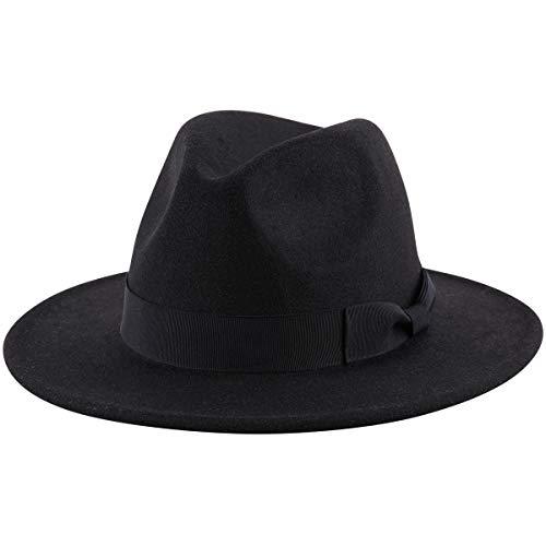 Lanzom - Sombrero de lana para mujer, ala ancha, estilo retro, tipo Panamá -  -  talla única