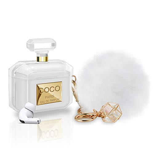 AirPods Pro Case Perfume Bottle Design with Keychain & Fur Ball Soft Silicone Shockproof Cute AirPod...