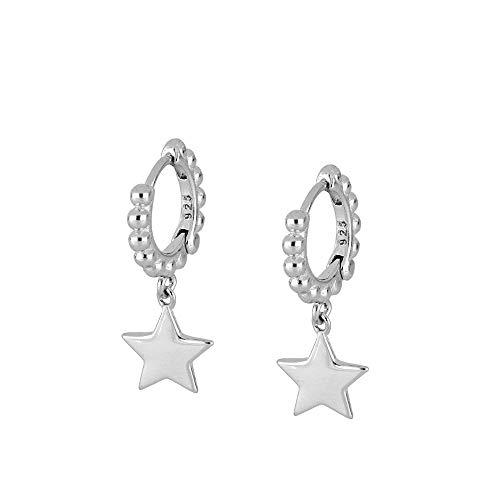 Cuentas redondas vintage brillante Luna Estrella Relámpago Pendientes de aro para mujeres niñas joyería cartílago pendientes 925 plata de ley
