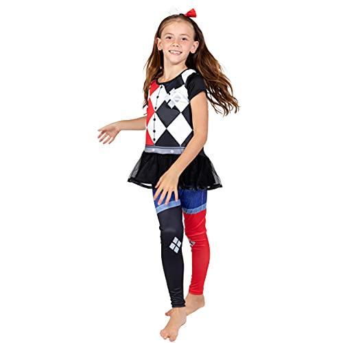 Warner Bros. Harley Quinn Big Girls Costume T-Shirt Leggings & Headband Set 10-12