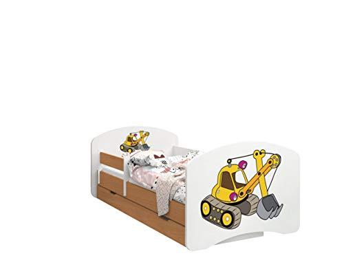 Happy Babies - Doppelseitiges KINDERBETT MIT SCHUBLADE Modernes Design mit sicheren Kanten und Absturzsicherung Schaumstoffmatratze 7 cm Buche (Gelber Bagger, 140/70)