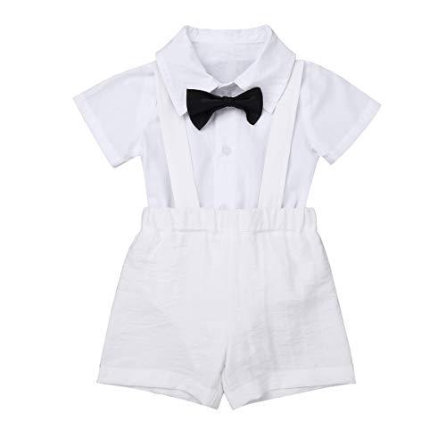 iiniim Costume de Baptême Communion Blanche Bébé Chemise Barboteuses Manche Courte Salopette Short Cravate Garçon d'honneur Vêtements Mariage Soirée Bal Lin 3-12 Mois Blanc 6-12 Mois