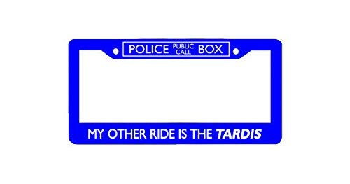 """ClustersNN My Other Ride is A Tardis Chrome License Plate Frame Stainless Metal Tag Holder 12"""" X 6"""""""