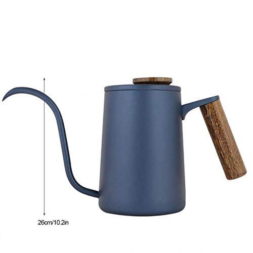 ZGYQGOO 600 ml Edelstahlgriff Tropfguss über Kaffeekanne Langer Schwanenhalsauslauf Wasserkocher Prensa Francesa Cafe Tools Cafeteira Expresso, Blau