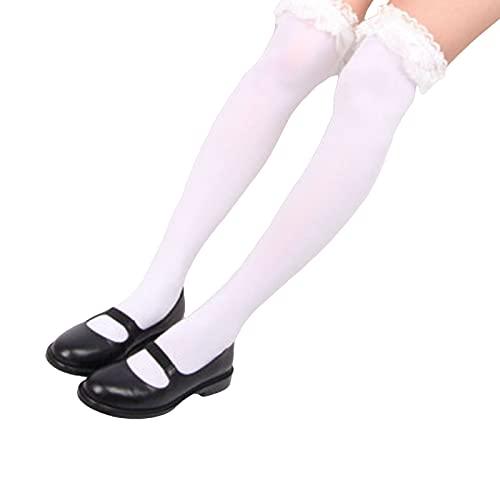 Mfacl Muslo Alto Calcetines Calcetines Altos de la Rodilla para Mujer - Medias de Kawaii Gótico Lolita Socks Girls Estilo japonés Encantador Cosplay (Color : White, Size : One Size)