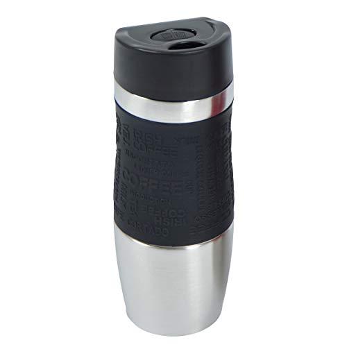 Ocean 5 Thermobecher, Kaffeebecher aus Edelstahl mit Einhandbedienung, 380ml, Coffee to go auf Knopfdruck genießen, Reisebecher BPA-frei, Thermo Travel Mug, Farbe: Schwarz