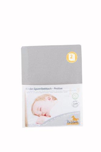 Pinolino Drap-Housse pour Lit de Bébé Tissu Eponge - Pack de 2 - Gris