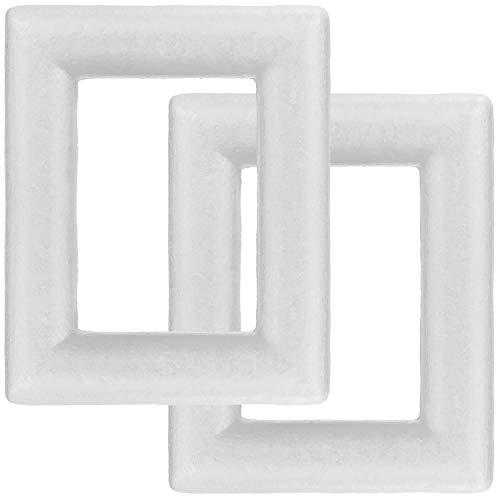 com-four® 2X Styropor-Rahmen zum Basteln - Bastelset aus Styropor im Rahmen-Design - Deko-Material für Gestecke und Kunsthandwerk (2 Stück - Rahmen)