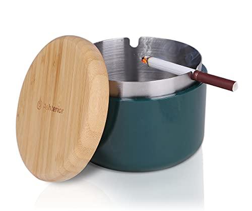【公式】 Ashterior ステンレス × 木製× PP の機能的融合 ふた付き 灰皿 大容量 卓上 屋外 にも アッシュテリア (ギニ・グリーン)