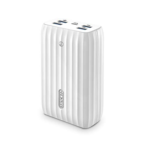 Zendure X6 USB-C Hub und Powerbank 20000mAh, Externer Akku mit 45W Power Delivery & QC3.0 und LED Disply, 5-Port Output Akkupack für MacBook, iPhone, Samsung Galaxy, Smartwatch, Kopfhörer usw.-Weiß