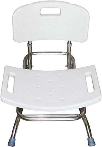 JF-XUAN Stools Bath Stool Stainless Steel Folding Shower Seat Stool for Seniors/Disabled Women Mat Mat Shower Seat Chair with Handle and Backrest Bath Seat White 130 Kg AntiSlip Shower Seat Stool