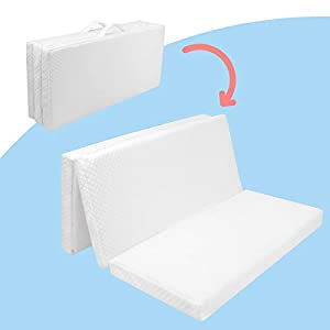 Pack n Play Mattress Pad, Portable Foldable Playard Mattress, Tri-fold Playpen Mattress for Pack and Play Crib, Standard Size 38 x 26 inch