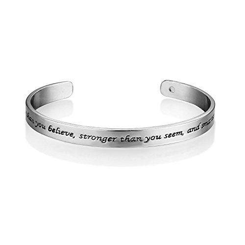 MAINBEAD You are Braver Than You Belive, Stronger Than You Seem, and Smarter Than You Think Wrap Bangle Bracelet