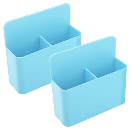 MoKo Magnetischer Stifthalter 2 Stück, Magnet Aufbewahrungsbox Markerhalterung Zubehörhalter Organizer Ablage für Kühlschrank, Whiteboard, Schließfach und andere magnetische Oberflächen, Blau
