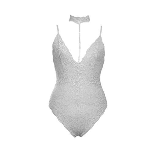 Teyun Body Negro del cordón Atractivo del V-Cuello de Las Mujeres sin Mangas de la Correa de Punto Pijamas S-L (Color : Gray, Size : M)