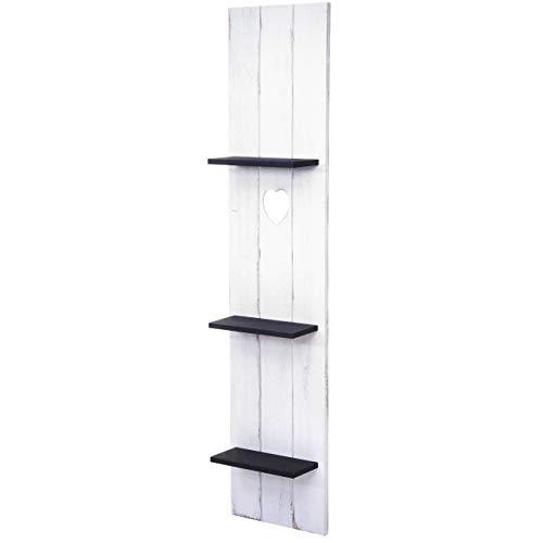 Mendler Wandregal HWC-C92, Wandpaneel Holzregal Regal, 3 Ebenen 150x33x13cm Massivholz Vintage ~ weiß/dunkelgrau Shabby