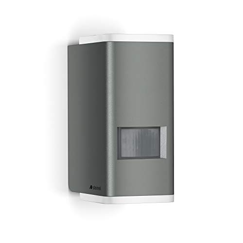Steinel Wandleuchte L 930 LED anthrazit, 9 W LED Außenleuchte, 140° Bewegungsmelder, Up-/Downlight warmweiß, Dauerlicht