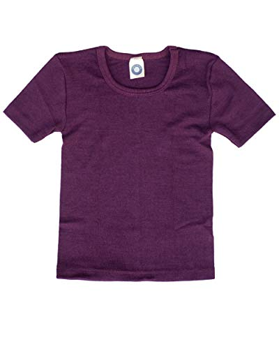 Cosilana, Kinder Unterhemd/T-Shirt, 70% Wolle und 30% Seide (92, Pflaume)